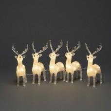 Set of 5 Reindeer acrylic - Warm White