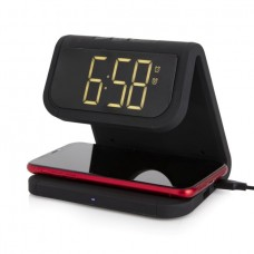 Core Alarm Clock with Wireless Charger Black