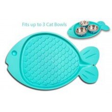 Fish shaped Mat with two Food Bowls