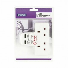 2 Way Cable Free Socket with 2 USB Ports - White