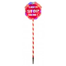 110cm Santa Stop Sign with Multicolour Lights