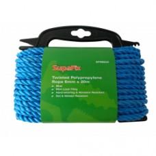 SupaFix Twisted Polypropylene Rope 6mm x 20m Blue