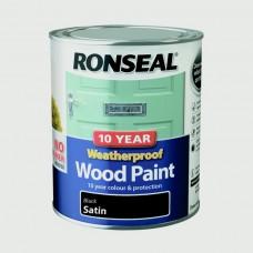 10 Year Weatherproof Satin Wood Paint 750ml - Black