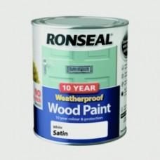 10 Year Weatherproof Satin Wood Paint 750ml - White