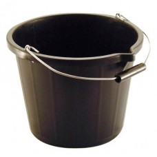 3 Gallon, 14 Litre Black Plastic Bucket